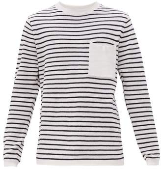 Saturdays NYC Kevin Striped Cotton Blend Sweater - Mens - White