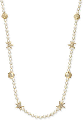 Charter Club Gold-Tone Imitation Pearl Sea Motif Long Necklace