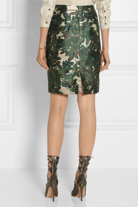 Oscar de la Renta Embroidered printed silk-blend mikado pencil skirt
