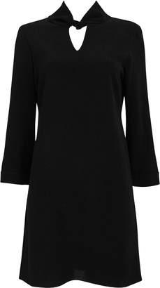 Wallis PETITE Black Twist Neck Shift Dress