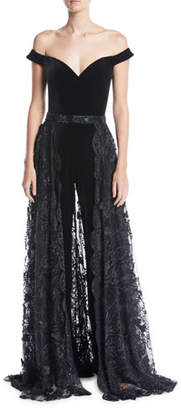 Jovani Off-the-Shoulder Velvet Jumpsuit w/ Lace Overskirt