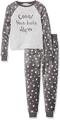 New Look 915 Girl's Count Stars Fleece Onesie 3884725 (Grey Pattern), Medium (Manufacturer Size:M)