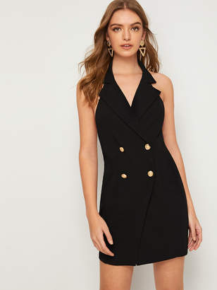 Shein Open Back Notched Collar Buttoned Dress