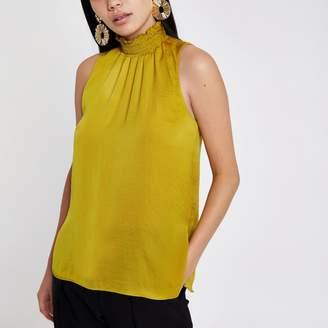 River Island Womens Yellow shirred high neck sleeveless top