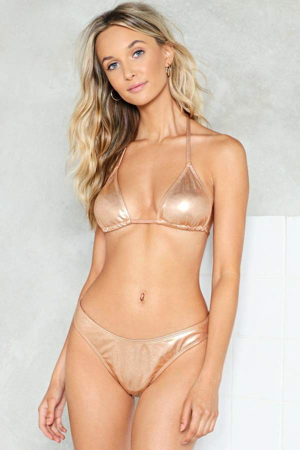 nastygal Strike Gold Metallic Bikini Top