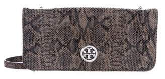 Tory Burch Embossed Suede Wallet On Chain