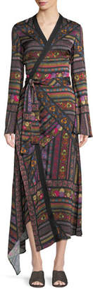 Etro Faux-Wrap Long-Sleeve Ribbon-Print Asymmetric Dress
