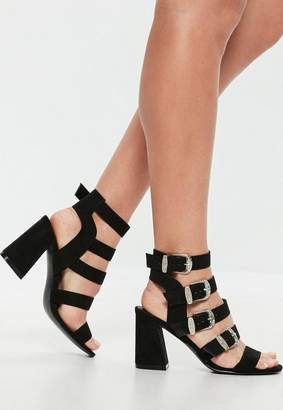 Missguided Black Western Buckle Block Heel Sandals