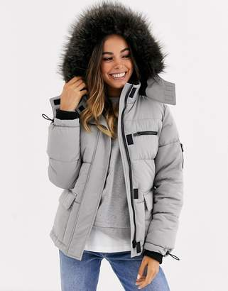 New Look faux fur hood puffer jacket in grey