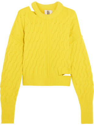 Topshop Unique - Distressed Cable-knit Sweater - Yellow