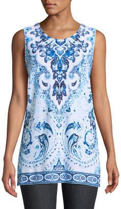 Joan Vass Sleeveless Tile-Print Side-Slit Tunic
