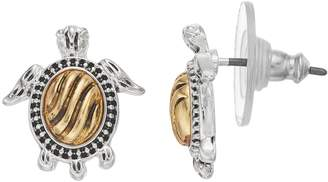 Napier Two Tone Turtle Stud Earrings