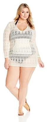 Coastal Blue Women's Plus Size Swimwear Crochet Hooded Cover up