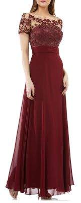 JS Collections Embroidered Illusion Fit-&-Flare Gown