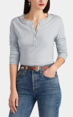 Barneys New York Women's Cotton-Cashmere Long-Sleeve Henley - Lt. Blue