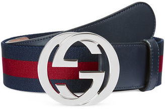 Gucci WEB BELT WITH INTERLOCKING G $360 thestylecure.com