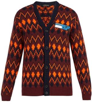 Prada - Chevron Jacquard Wool Blend Cardigan - Mens - Burgundy