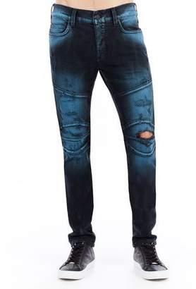 True Religion Rocco Distressed Moto Skinny Jeans, EJID Blue Blaze