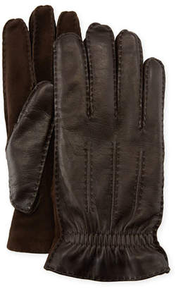 Brunello Cucinelli Men's Three-Cord Lamb Leather Gloves