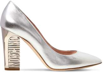 Moschino 100mm Logo Heel Metallic Leather Pumps