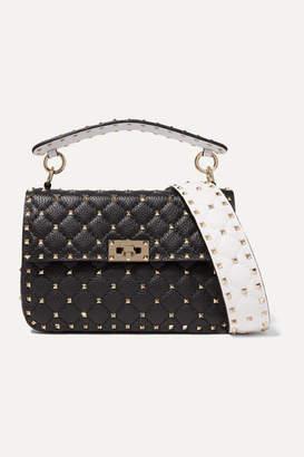 Valentino Garavani Rockstud Spike Medium Quilted Textured-leather Shoulder Bag - Black
