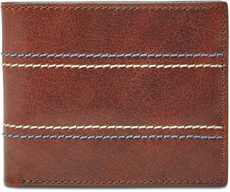 Fossil Men Reese Bifold Flip Id Leather Wallet