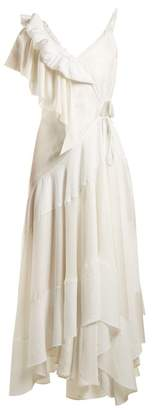 Loewe Ruffle Trimmed Asymmetric Dress - Womens - White