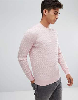 Abercrombie & Fitch Preppy Cable Knit Sweater Moose Logo in Pink