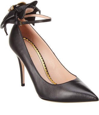 Gucci Queen Margaret Ankle Strap Leather Pump