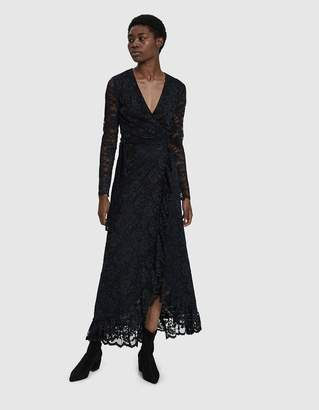 Ganni Flynn Lace Wrap Maxi Dress