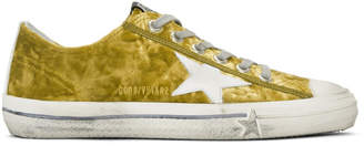Golden Goose Gold and White Velvet Superstar Sneakers