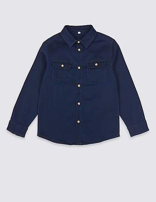 Marks and Spencer Cotton Rich Denim Shirt (3-16 Years)