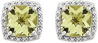 Sterling Cushion-Cut Gemstone & Diamond AccentEarrings