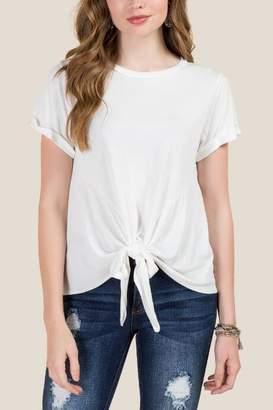 francesca's Hattie Tie Front Basic Cupro Top - White