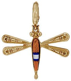 American West Gemstone DragonflyBrass Charm