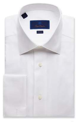 David Donahue Men's Slim-Fit Diamond-Pattern Formal Dress Shirt