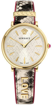 Versace 38mm Love Manifesto Leather Watch, Snake