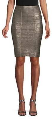Herve Leger Metallic Knee-Length Skirt