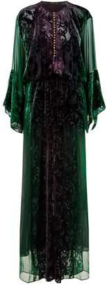 Roberto Cavalli Mermaid Print Velvet Gown