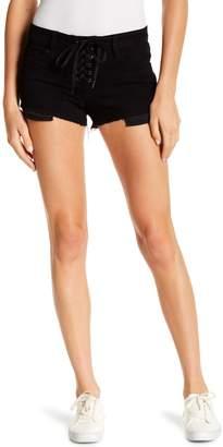 Eunina Denim Pixie Lace-Up Cut Off Low Rise Shorts (Juniors)