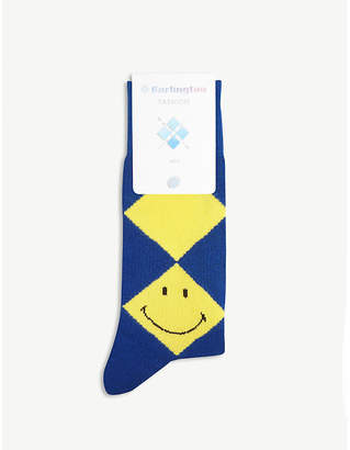 Burlington Mens Navy Blue Smiley Argyle Print Socks