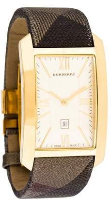 Burberry Check Engraved Watch