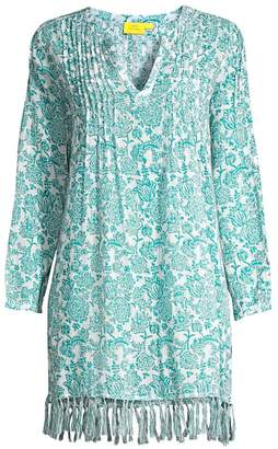Roller Rabbit Ulili Ziva Print Tunic Fringed Dress