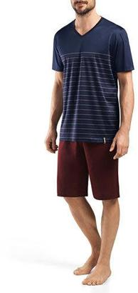 Hanro Giorgio Short-Sleeve Lounge Shirt and Shorts Set, Stripe $196 thestylecure.com