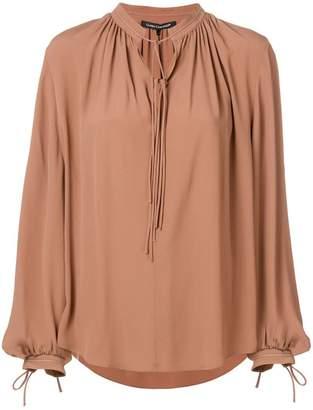 Luisa Cerano tie neck flared blouse