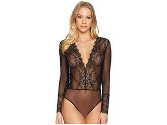 Felina Dossa Eyelash Lace Long Sleeve Bodysuit