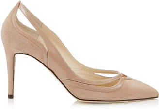 Jimmy Choo HICKORY 85 Ballet Pink Suede and Patent Pointy Toe Pumps