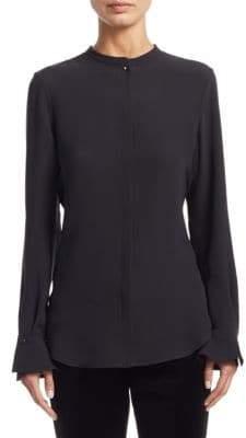 Loro Piana Danielle Bell-Sleeve Silk Button-Down Shirt