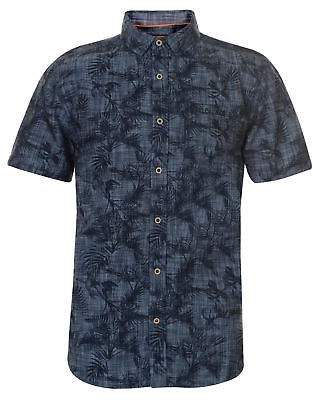 Soul Cal SoulCal Mens Printed Short Sleeve Shirt Casual Cotton Print Chest Pocket