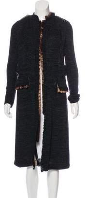 Dolce & Gabbana Snakeskin-Trimmed Long Coat
